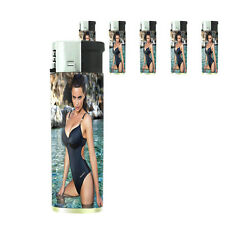 Italian Pin Up Girl D7 Lighters Set of 5 Electronic Refillable Butane