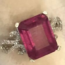 4.55CT Natural Emerald Cut Ruby and Diamonds 10K  White Gold Ring
