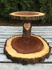 """Elm Wood Personalized 12"""" Rustic Cake Cupcake Pie Stand Wedding 2 Tiered Tier"""