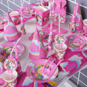 Children Kids Unicorn Theme Birthday Party Supplies Favor Tableware Deco