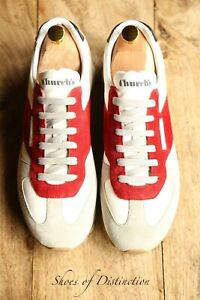 Men's Church's White Grey Red Suede Trainers UK 8 US 9 EU 42