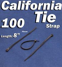 """100 X pcs Black 8"""" Tie Cord Strap 200mm Network Nylon Plastic Cable Wire Zip"""