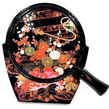 Vtg Japanese Lacquer Hand Mirror Vanity Stand Set Black Floral Chrysanthemum