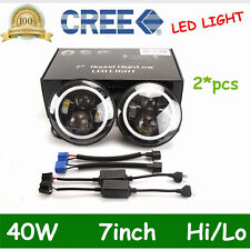 "2X 7"" 40W Round LED Headlight Angle Halo High/Low DRL SUV Wrangler JK TJ Harley"