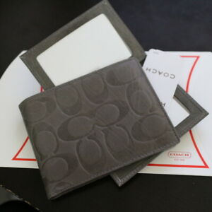 NWT COACH Men's Passcase ID Embossed Signature Leather Grey Wallet Bifold NEW