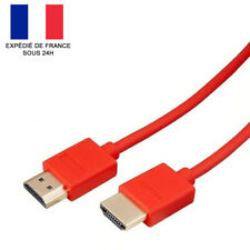 CABLE HDMI 2.0 PL. OR / HD / 4K / PS4 / PS3 / XBOX / BLU RAY / TV / ROUGE / 1M