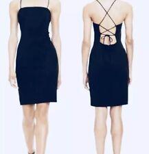Black Mini Dress Strappy Back Sexy Sheath Cocktail Dress Size 12 NWT $198