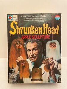 Vintage Milton Bradley Shrunken Head Apple Sculpture Vincent Price Halloween Set