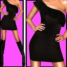 ██SEXY FRILL ONe Shoulder MINIDRESS MINIKLEID █BLACK