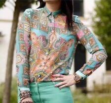 ZARA Green Paisley Scarf Handkerchief Print Chiffon Shirt Blouse Extra Large XL