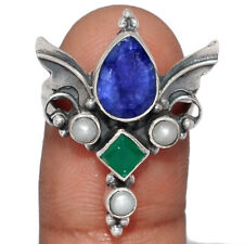 Angel Wings - Sapphire, Emerald & Pearl 925 Silver Ring Jewelry s.6.5 AR156934