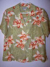 WOMENS TOMMY BAHAMA HAWAIIAN BLOUSE TOP SHIRT  CLASSIC TROPICAL GREEN ALOHA L