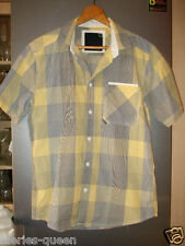 BENCH Mens Check short sleeve Shirt Black/Yellow Size Medium ~ pit2pit approx44""