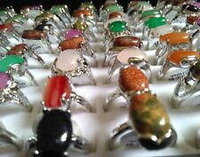 10x TOP mix of Women's Natural Stone Silver Plated Rings Colorful Ladies Ring