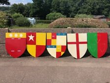 More details for 9 heraldry shields medieval style painted wood with hook, lightweight fun