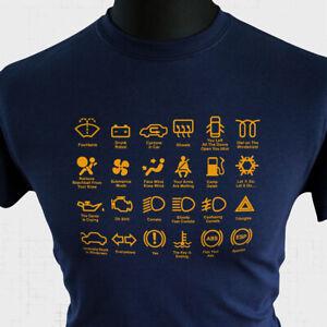 Dashboard Icons T Shirt Joke Funny Gift Driving Car Warning Lights Blue