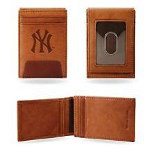 New York Yankees Premium Brown Leather Money Clip Front Pocket Wallet Baseball
