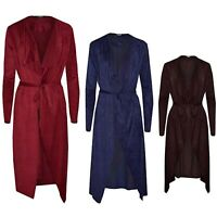Women's Velvet Velour Belted Waterfall Drape Cardigan Long Length Cover Ups Coat