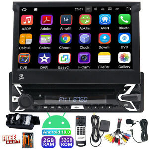Single 1 Din Car Stereo Android 10 2+32GB DVD CD Player GPS FM TV Radio WIFI AUX