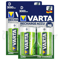 4 x Varta D size 3000mAh batteries Rechargeable Ni-MH 1.2V HR20 Torcia Mono Accu