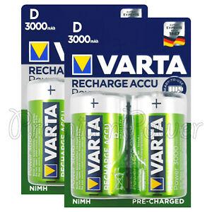 4 x Varta D size 3000mAh batteries Rechargeable Ni-MH 1.2V HR20 Torcia Mono Accu