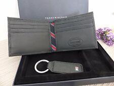 BNWT Tommy Hilfiger Black Leather Eton Wallet & Keyring Gift Set