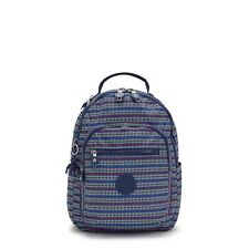 Kipling Small Backpack SEOUL S Tablet Protection BLUE GEO PRINT FW21 RRP £83