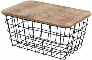 Wire Basket Black 26x15x12cm. Storage Basket Metal Wire Basket with Wooden Lid