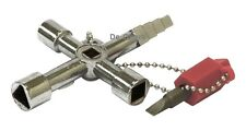 4 Way Utility Service Utili Key Rolson Plumbers With Screwdriver Bit Chain