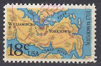 USA Briefmarke gestempelt 18c Yorktown 1781 Rundstempel / 2500
