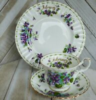 Vintage Royal Albert Bone China England February Violets Trio Cup Saucer Plate