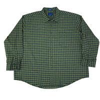Towncraft Mens Size XXL 2XL Green & Yellow Long Sleeve Button Front Shirt