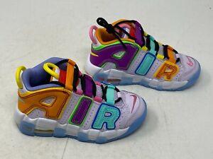 Nike Air More Uptempo  Multi Color DH0828-500 Kids SZ 11C PS White Yellow Purple