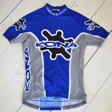 Rare retro vintage blue and grey Kona bicycles women's S/S large cycling jersey