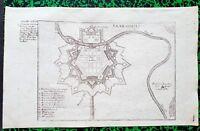 XVIII ème - Allemagne - Beau Plan de Sarrelouis par Bodenehr  30x19 Editée 1720