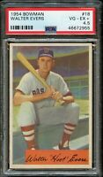 1954 Bowman BB Card # 18 Walter Hoot Evers Boston Red Sox PSA VG-EX+ 4.5 !!!