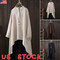 Plus Size Women Long Sleeve Blouse Cotton Linen Kaftan Baggy Tops Tunic T Shirt