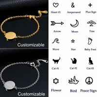 DIY Stainless Steel Personalized Custom Circel Gold Bracelet Chain Bangle Party