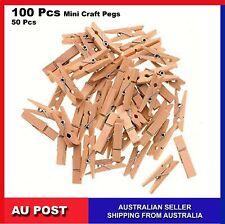 100, 50 Pcs Mini Wooden Craft Natural Pegs wedding Clothes Photo Paper Pin Line