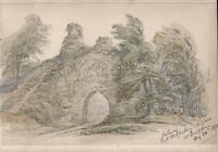 GATEWAY AT CHATEAU D'ARQUES DIEPPE FRANCE Victorian Watercolour Painting 1872