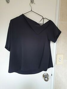 BNWOT Cue Black Off Shoulder Crop Length Fold Neckline Blouse Top Sz 10-12