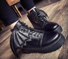 Ladies Womens Bat wing PU Leather Chunky Cleated Goth Punk Ankle Boots Shoes