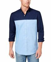 Club Room NEW Blue Men Medium M Oxford Button Down Colorblock Shirt $55 #109