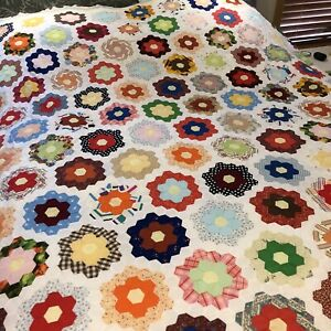 3 Quilt Tops 1 King 2 Full Hand/Machine Sewn Grandmother's Flower Vintage
