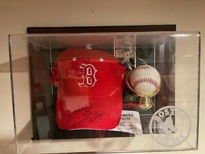 Manny Ramirez Boston Red Sox Autographed Hat, Baseball and Card w/Display Case