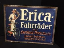 Erica Fahrräder altes original Blechschild um 1915 31x41 cm
