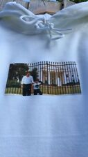 WHITE PABLO ESCOBAR HOODIE POSING IN FRONT OF THE WHITE HOUSE supreme condition