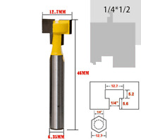T-Slot Cutter 1/4*1/2 Shank Steel  Milling Router Bit For Woodworking Tools