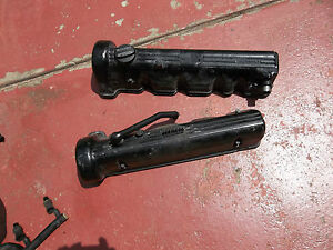 86-89 560 SL engine valve covers, factory black with oil cap & bolts, PAIR