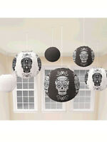 6 x Halloween Party Black & White Skull Design Hanging Paper Lantern Decoration